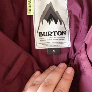 Maroon burton size small dry ride snow pants